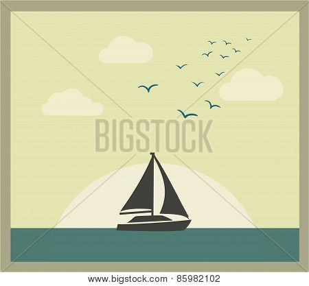 Retro vector card with sailboat against sunset