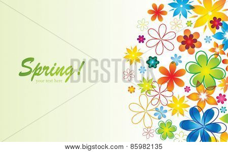 Colorful Banner with Abstract Flowers. Spring and Summer background.