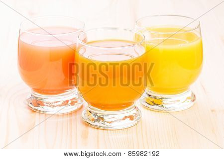 Three Glasses Of Fresh Natural Juice.