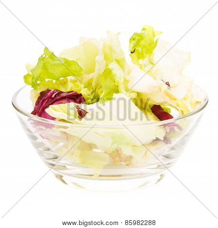 Fresh Vitamins Salad In Glass Bowl