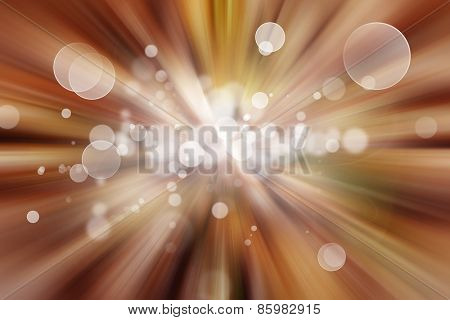Bright explosion. White circles on brown background