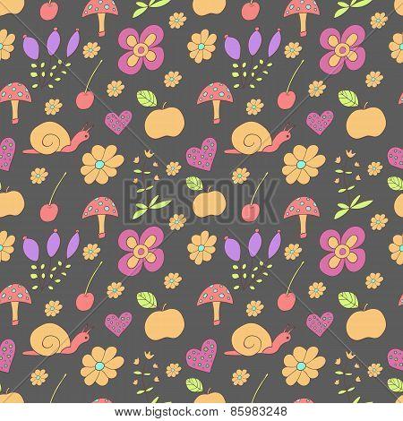 Seamless pattern with painted flowers, snails, mushroom, apple