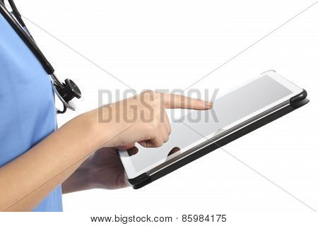Side View Of A Nurse Or Doctor Hand Using A Tablet