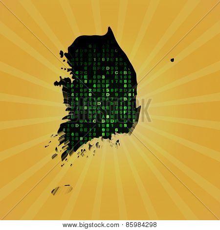 South Korea sunburst map with hex code illustration