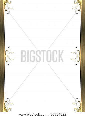 Golden Frame On White Background. Design Template. Design Site
