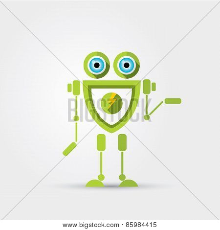 Cartoon Character Cute green Robot