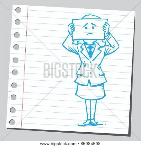 Businesswoman with sad face on paper