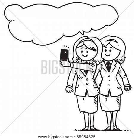 Businesswomen taking selfie and speaking