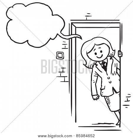 Businesswoman opening door speaking