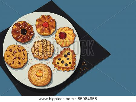 Set of cookies on a plate. The cookies are on a separate layer