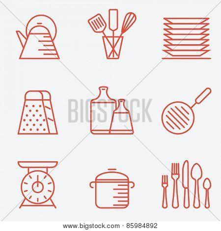 Kitchen utensils icons, thin line style, flat design