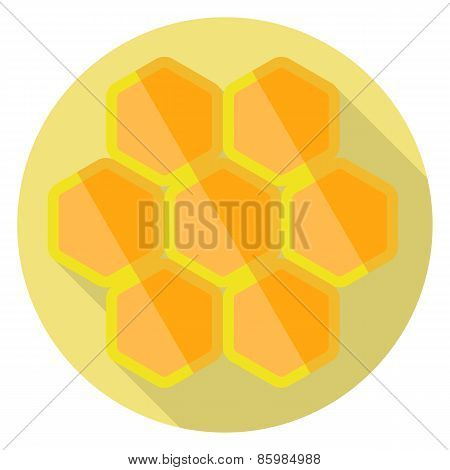 Flat design of honeycombs icon. Vector illustration.
