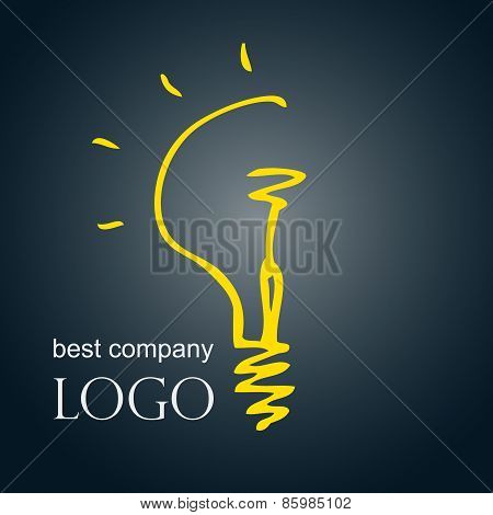 Hand drawn sketch bulb light idea vector illustration. Logo concept.