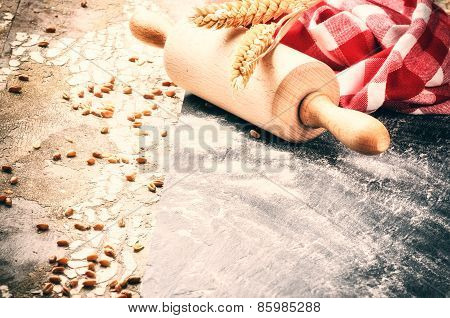 Baking Setting With Wooden Rolling Pin And Kitchen Napkin