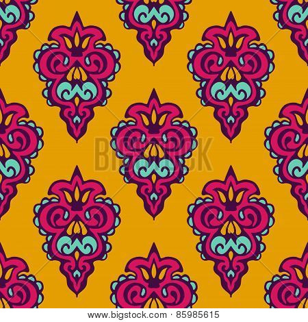 Damask vector festive yellow pattern