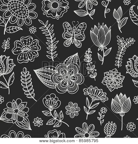 Seamless Pattern With Chalk Flowers.