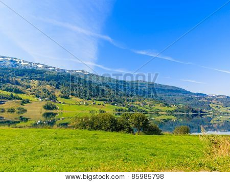 Tourism And Travel. Landscape And Fjord In Norway.