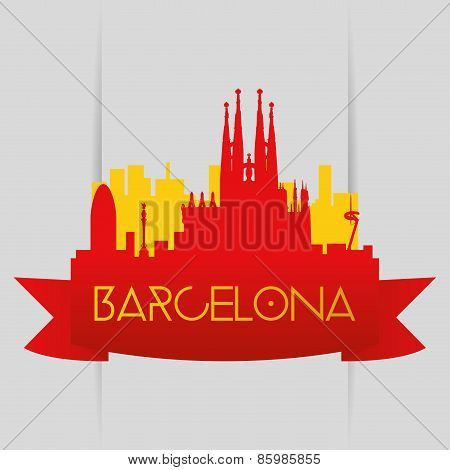 abels and backgrounds with famous places in barcelona and new york