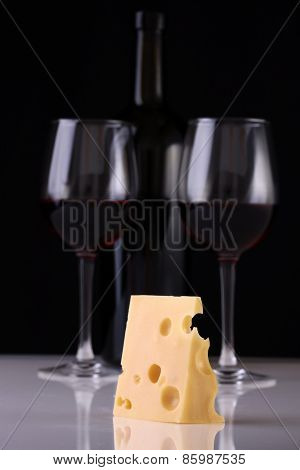 Wine Bottle, Glasses And Cheese