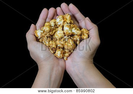 Cupped Hands Holding Popcorn