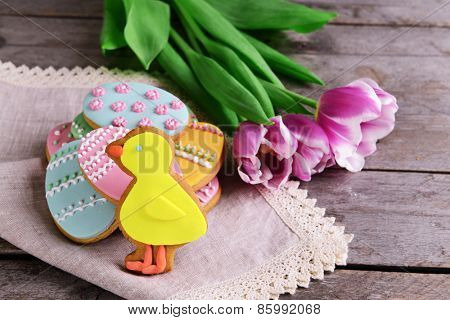 Delicious Easter cookies on table close-up