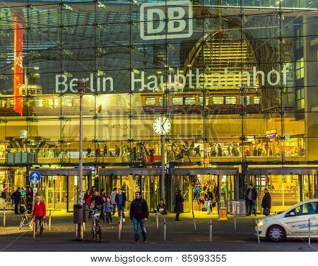 Berlin Main Station Frontview In Berlin By Night