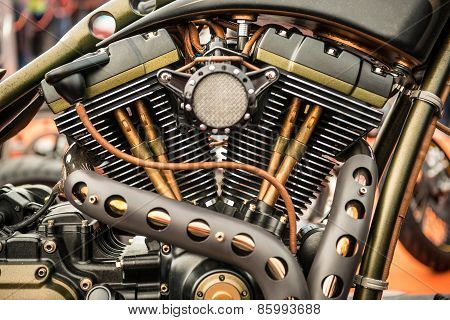 Close up view of a custom motorcycle engine