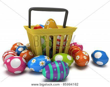 Easter Eggs In Shopping Basket