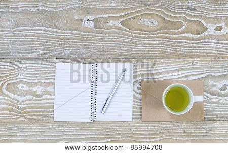Green Tea Drink On Top Of Office Desktop