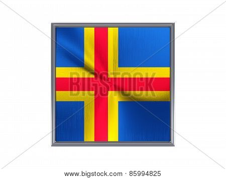 Square Metal Button With Flag Of Aland Islands