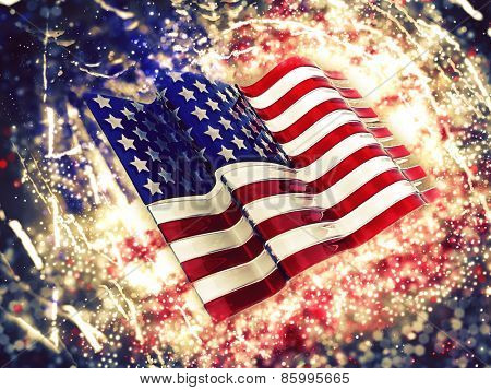 3D American flag background with sparkle effect