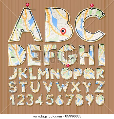 Alphabet and numbers, paper craft design, cut out by scissors from map