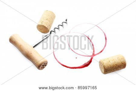 Wine stains corks and corkscrew isolated on white