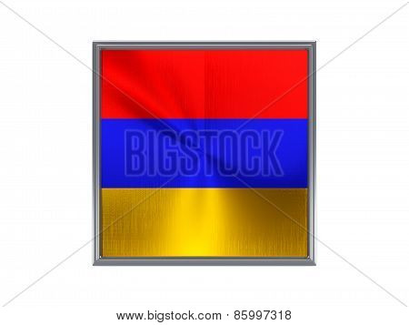 Square Metal Button With Flag Of Armenia