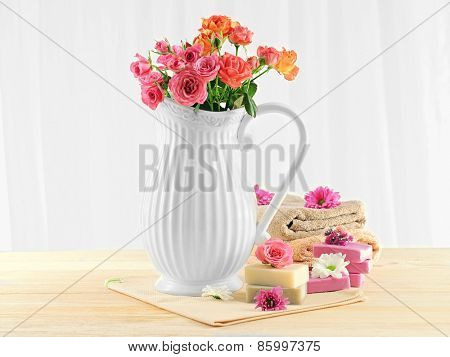 Set for washing face on table on light background