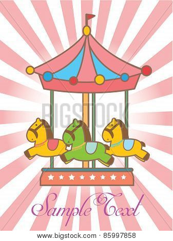 Greeting card with merry-go-round / carousel icon,