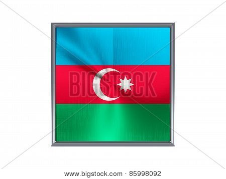 Square Metal Button With Flag Of Azerbaijan