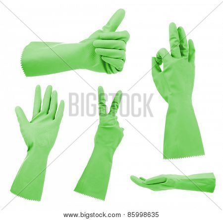 Green gloves gestures, isolated on white