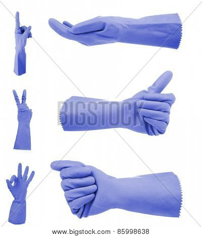 Blue gloves gestures, isolated on white