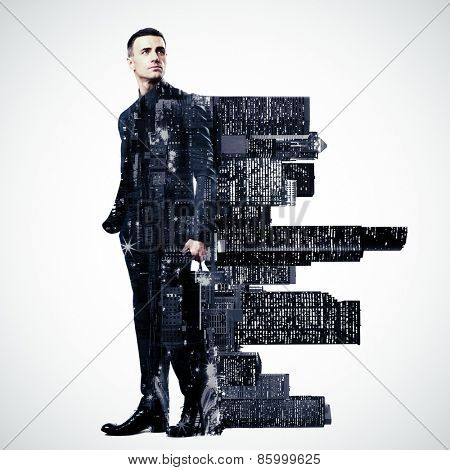 Double exposure of a city and professional businessman standing on white background