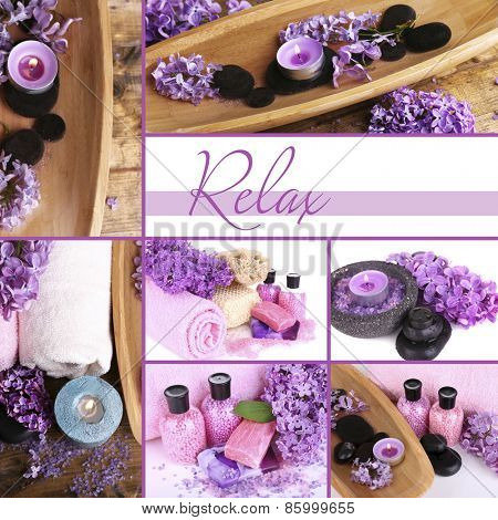Lilac spa compositions in collage