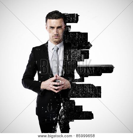 Double exposure of a city and professional businessman standing on a gray background