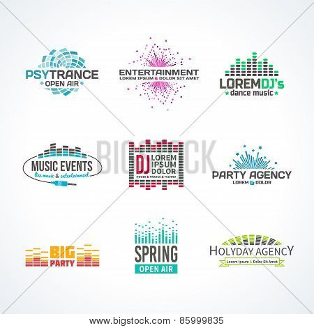 Third big set music equalizer emblem vector elements