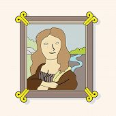 image of mona lisa  - Painting Mona Lisa Theme Elements Vector - JPG