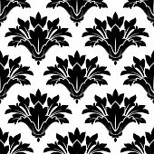 stock photo of dainty  - Black arabesque floral seamless pattern with decorative dainty flowers for textile and wallpaper design - JPG