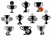 pic of snooker  - Isolated sporting trophy icons set with various balls and equipment for basketball - JPG
