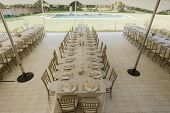 pic of mansion  - Decor Dining tables chairs outdoors tent celebration dinner at private mansion home - JPG