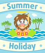 picture of sea lion  - Summer sea background card with funny lion - JPG