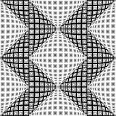 picture of quadrangles  - Design seamless monochrome warped zigzag pattern - JPG