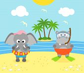 pic of hippopotamus  - Summer background with funny elephant and hippopotamus on the beach - JPG